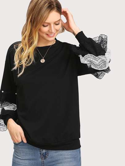 Pearl And Layered Lace Detail Pullover