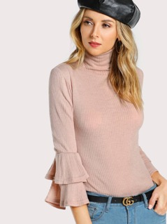 High Neck Ruffle Sleeve Form Fitting T-shirt