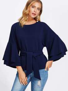 Tie Front Layered Trumpet Sleeve Textured Top