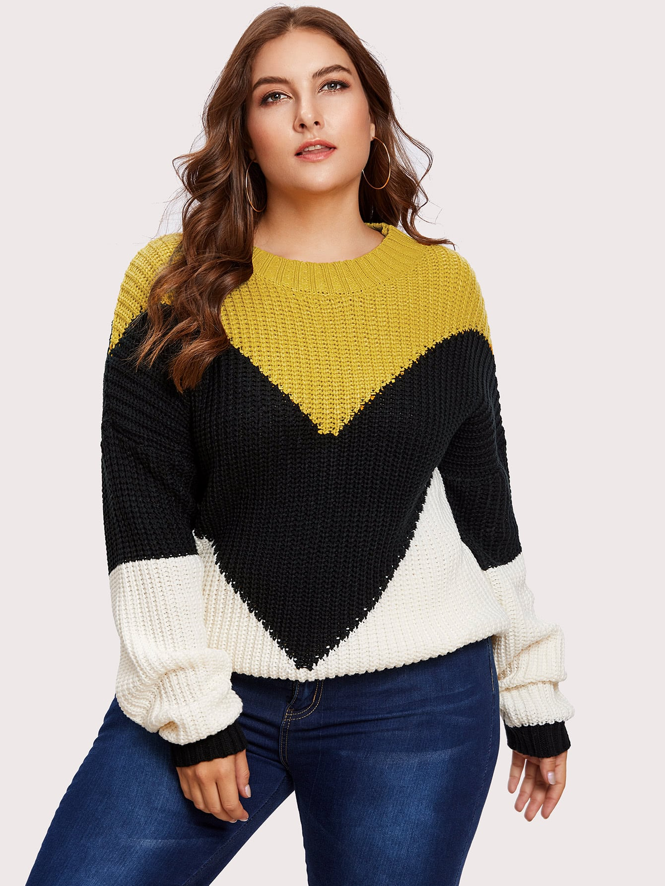 Cut And Sew Color Block Sweater