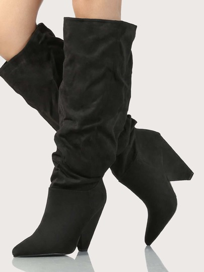 Slouchy Faux Suede Knee High Boots BLACK