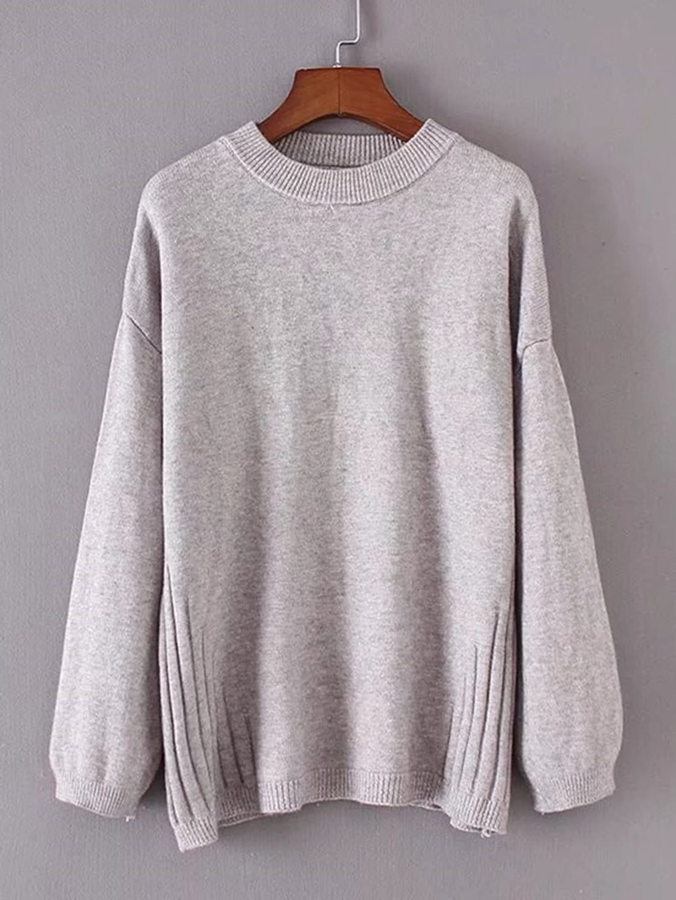 Rib Detail Drop Shoulder Sweater sweater171108203