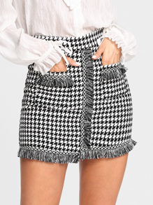 Houndstooth Fringe Trim Skirt