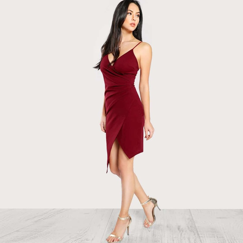 Ruched Asymmetrical Hem Wrap Cami Dress, Burgundy