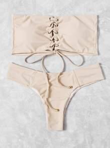Lace Up Bandeau Bikini Set