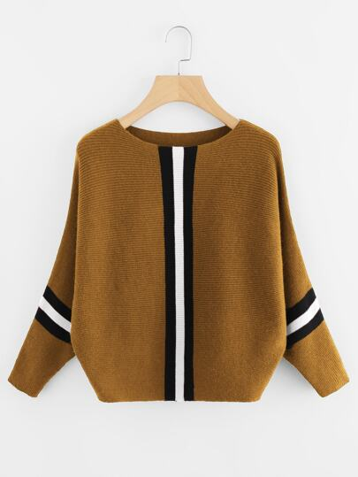 Contrast Striped Panel Batwing Sweater