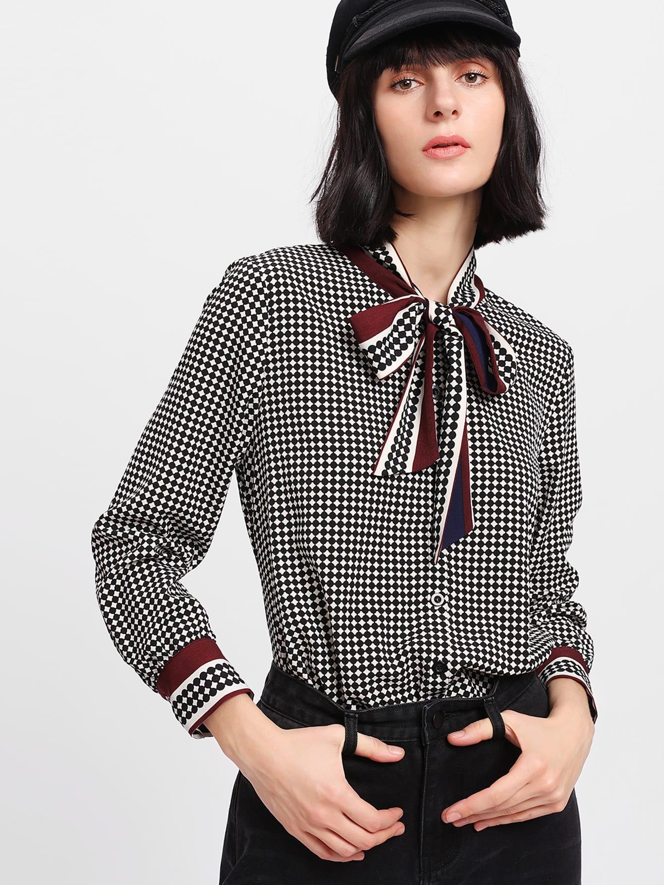 Купить Модная клетчатая блуза с бантом, Ksenia G, SheIn