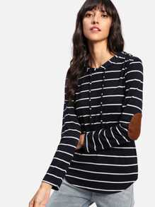 Elbow Patch Curved Hem Striped Tee