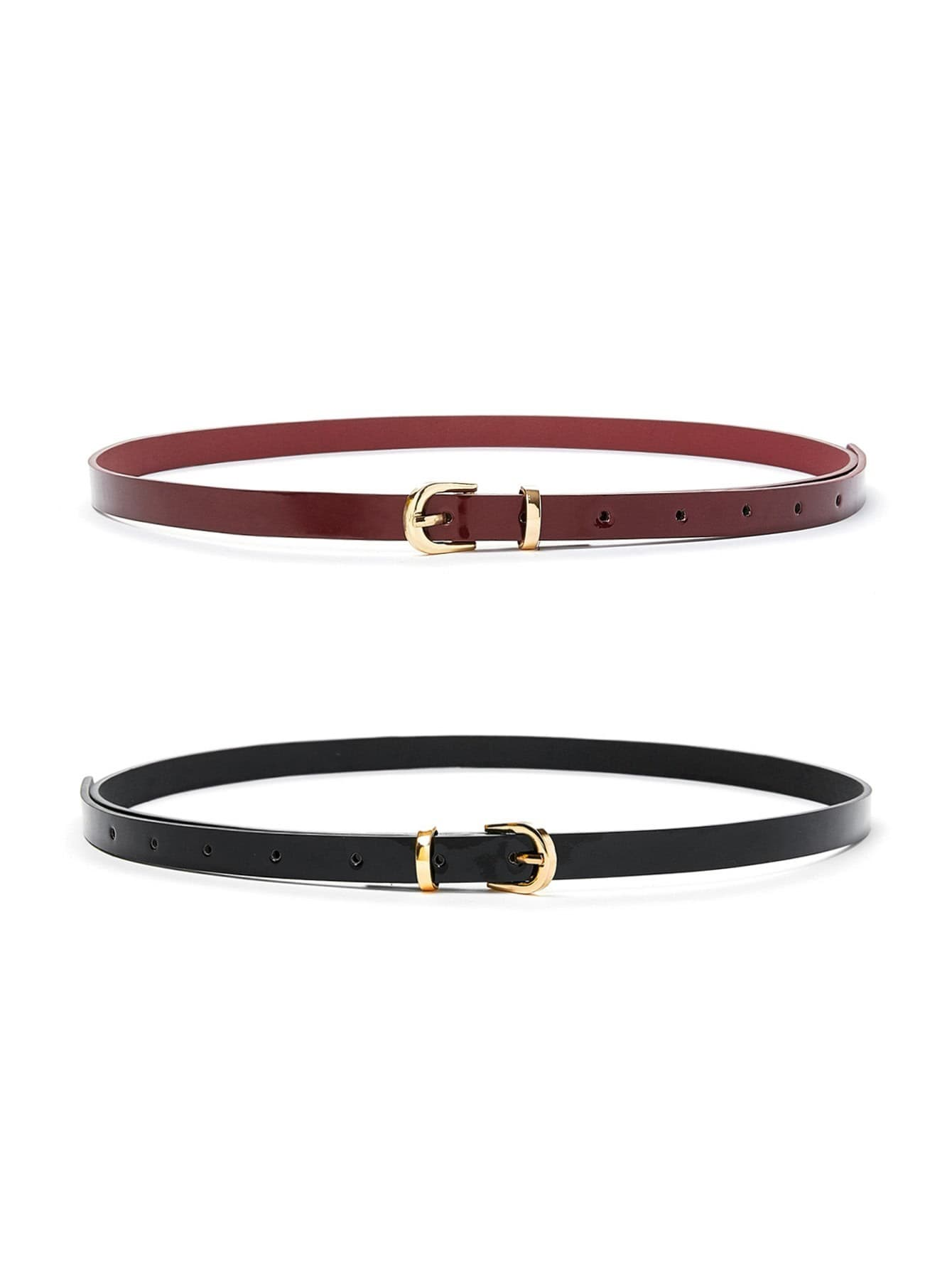 Metal Buckle Skinny Belt 2pcs