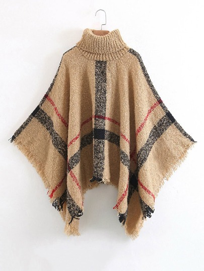 Fringe Trim Plaid Poncho Sweater