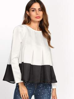 Two Tone Box Pleated Trapeze Top