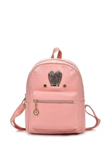 Glitter Ear Detail Zipper Front PU Backpack