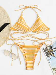 Criss Cross Back Tie Side Bikini Set