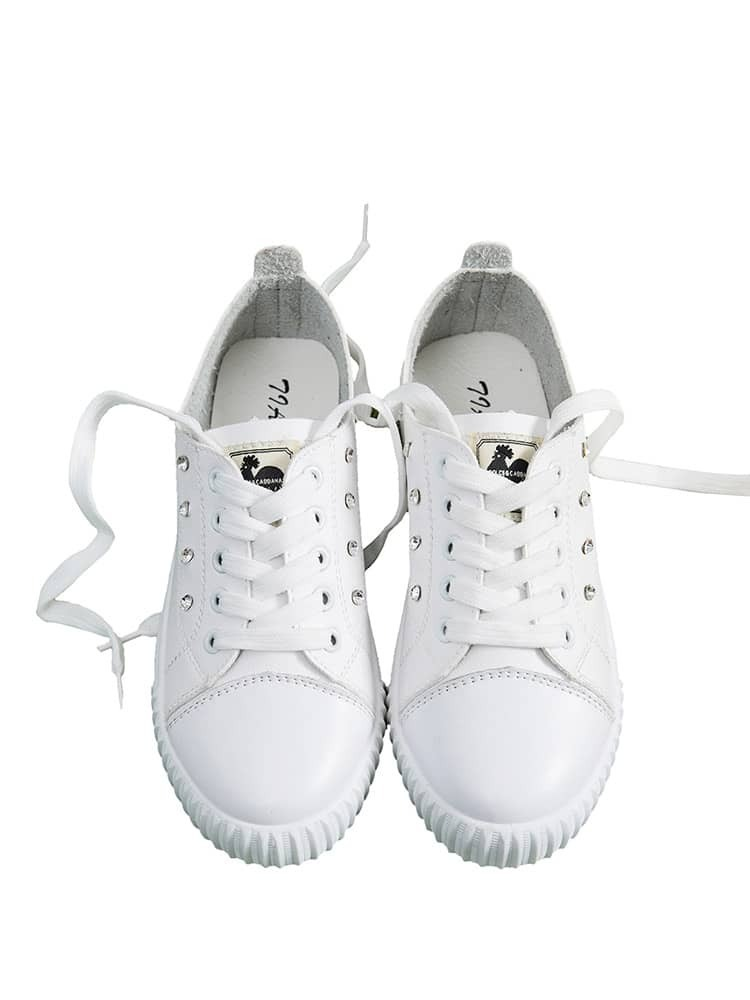 Rhinestone Detail Lace Up Sneakers