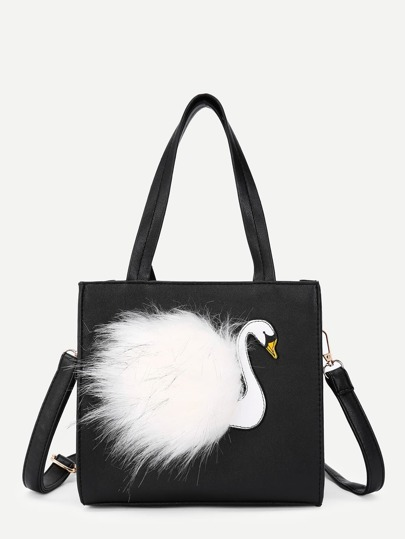 Flamingo Front Design PU Bag With Handle