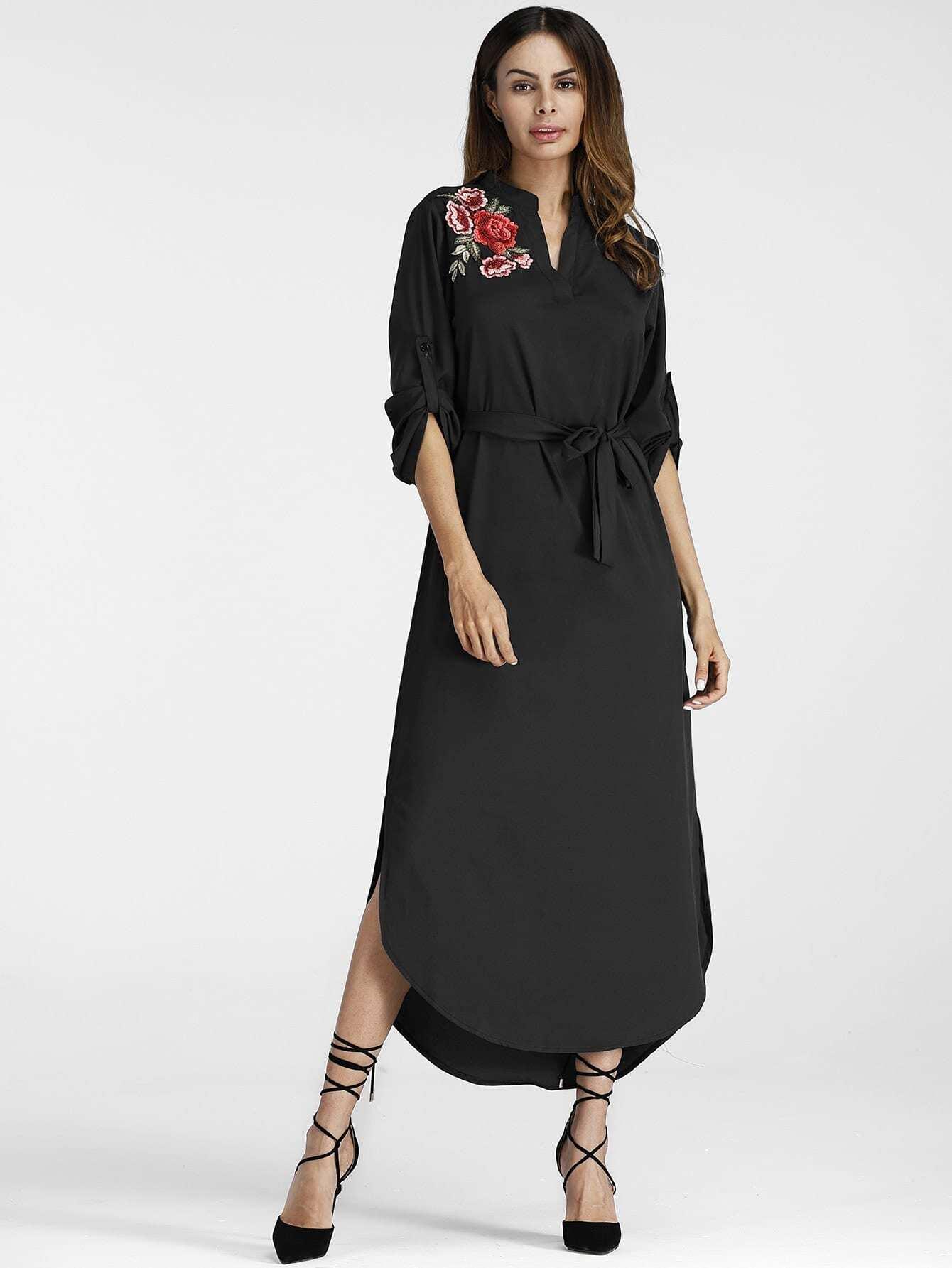 Embroidered Applique Curved Hem Belt Dress