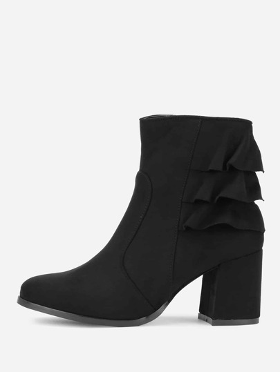 Tiered Ruffle Side Zipper Ankle Boots