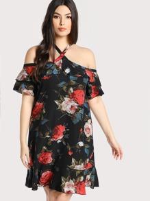 Rose Print Crisscross Neck Dress