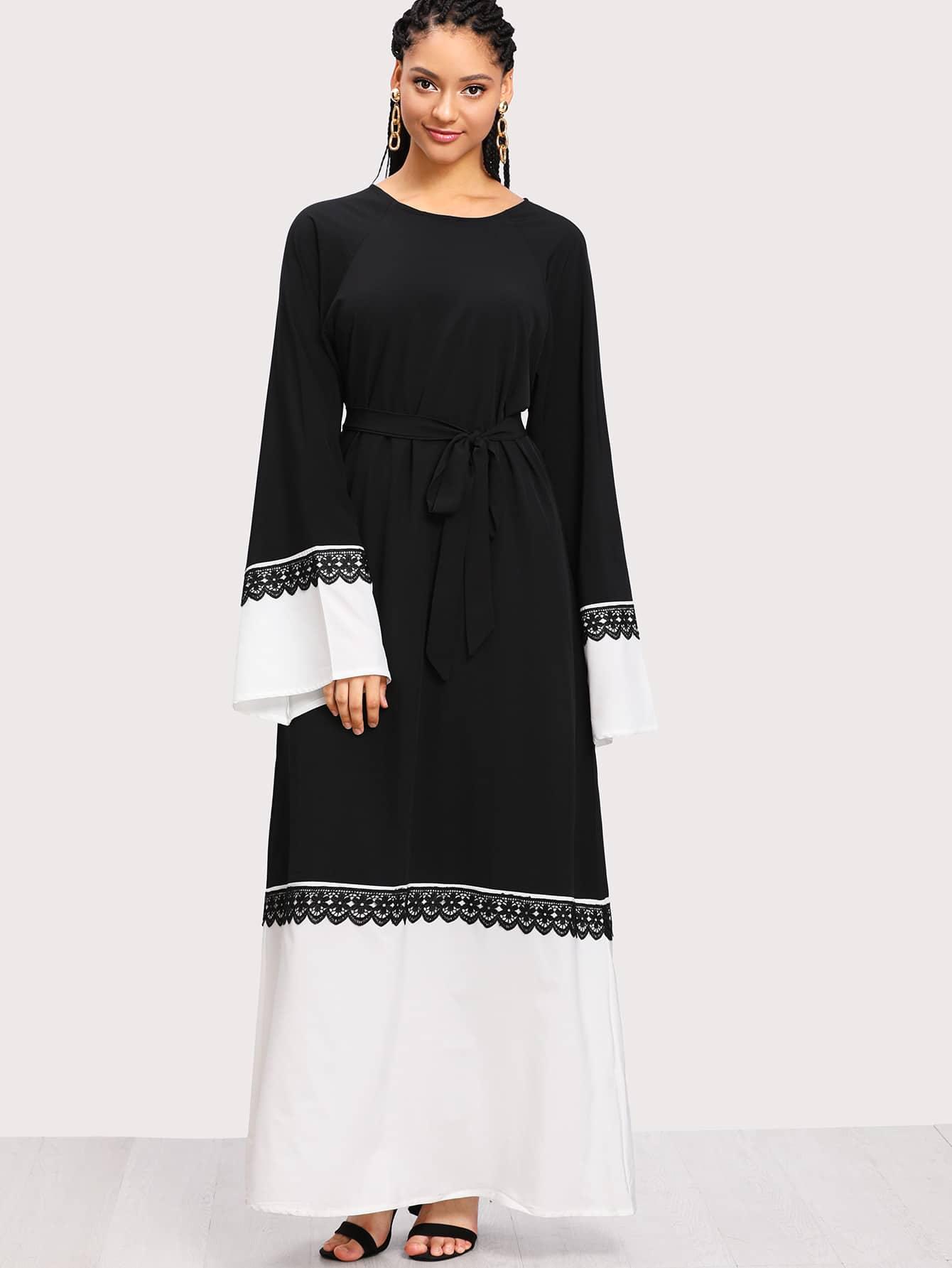 Contrast Crochet Lace Two Tone Long Hijab Dress