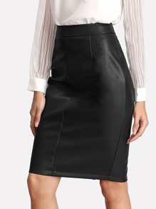 Split Back PU Leather Skirt