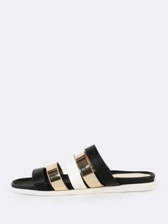 Mixed Media Sandals BLACK