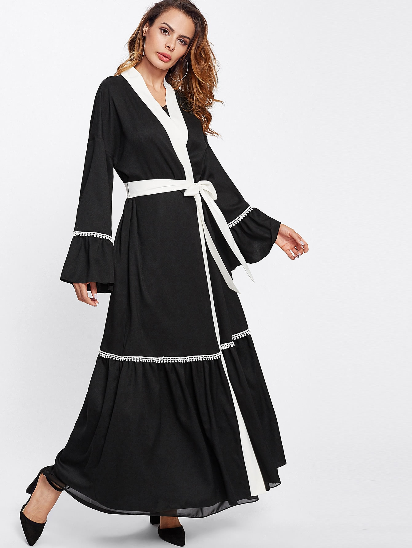 Lace Trim Contrast Neckline And Belt Abaya