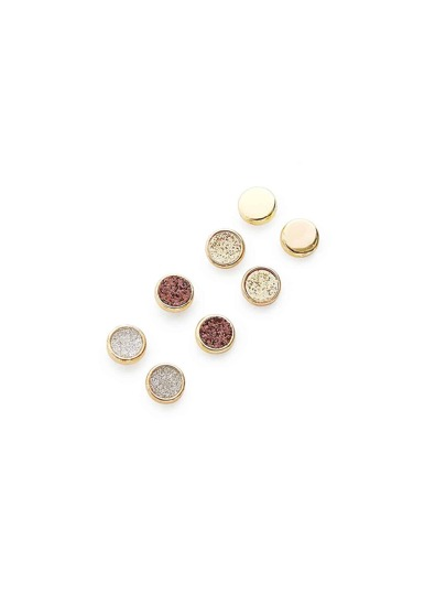 Four Color Round Stud Earring Set 4Pair