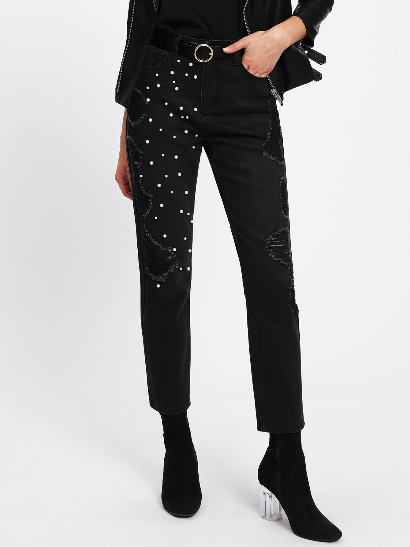 Pearl Beading Shredded Jeans джеймс эшер bhakta ranga rasa india новый взгляд mp3