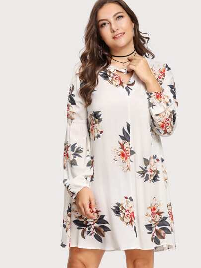 V Cut Buttoned Neck Floral Dress