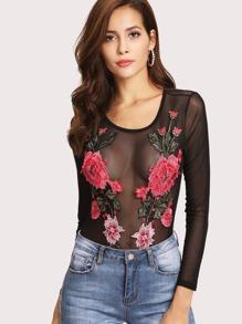 Embroidered Flower Mesh Bodysuit