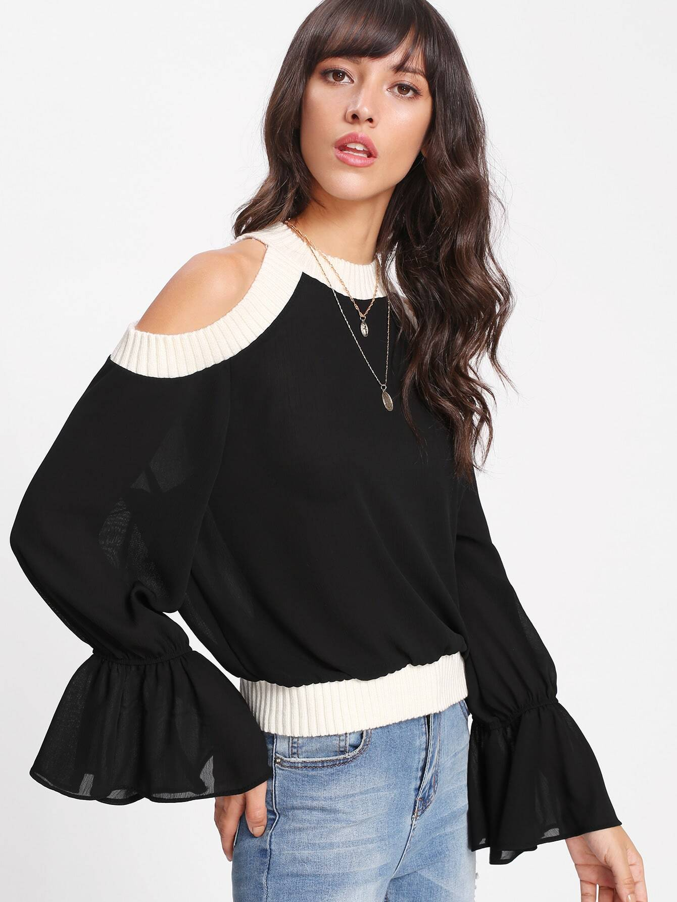 Contrast Ribbed Trim Open Shoulder Top blouse171117001