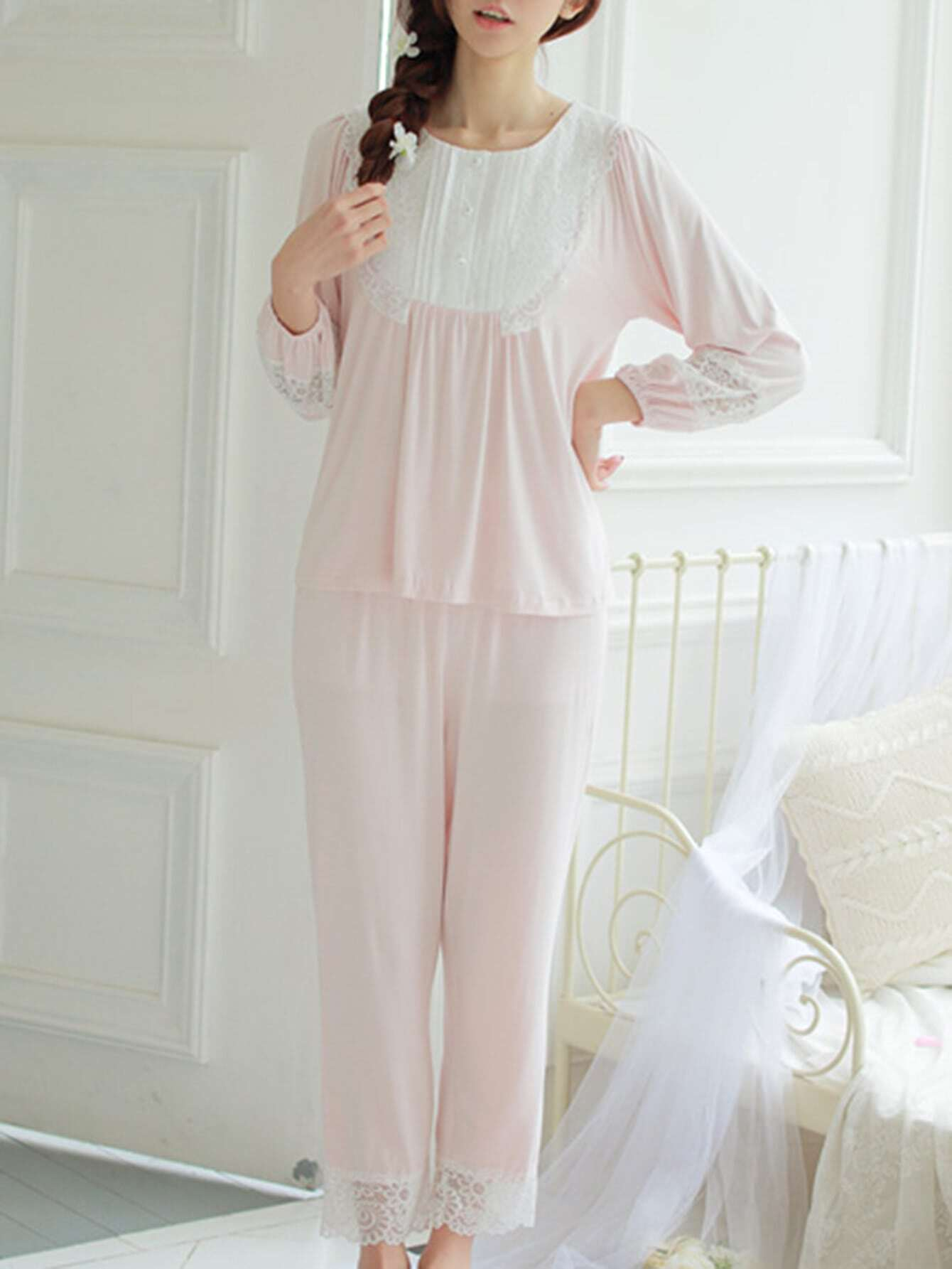 Contrast Lace Top & Pants Pj Set