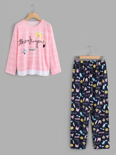 Contrast Lace Hem Cartoon Print Tee & Pants Pj Set