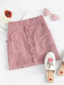 Corduroy Pearl Beaded Zip Up Back Skirt