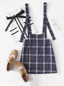 Checked Pinafore Skirt