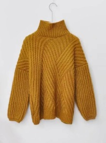 High Neck Chunky Rib Jumper