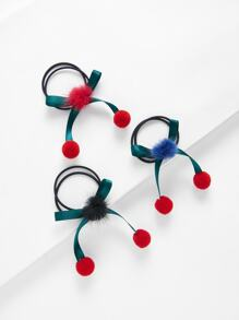 Bow Pom Pom Hair Tie 3pcs