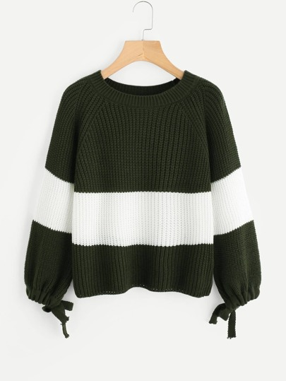 Drawstring Cuff Color Block Sweater