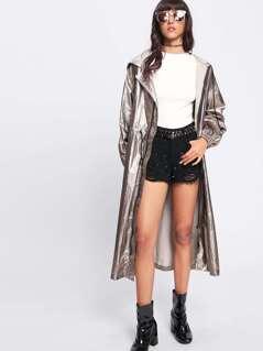 Metallic Drawstring Longline Hoodie Coat