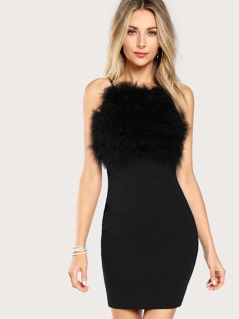 Faux Fur Front Cami Dress
