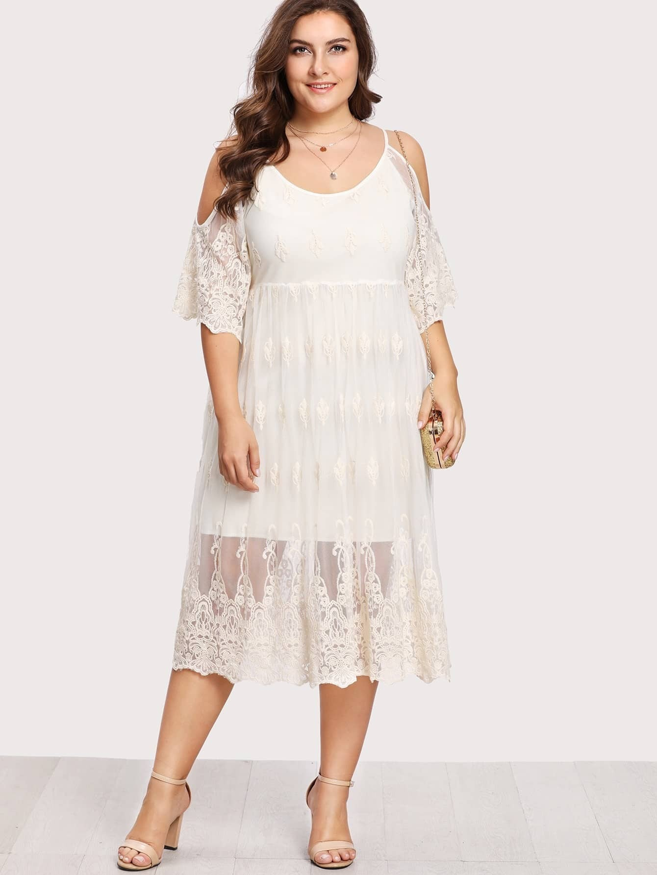 Plus Embroidery Lace Overlay Open Shoulder Dress