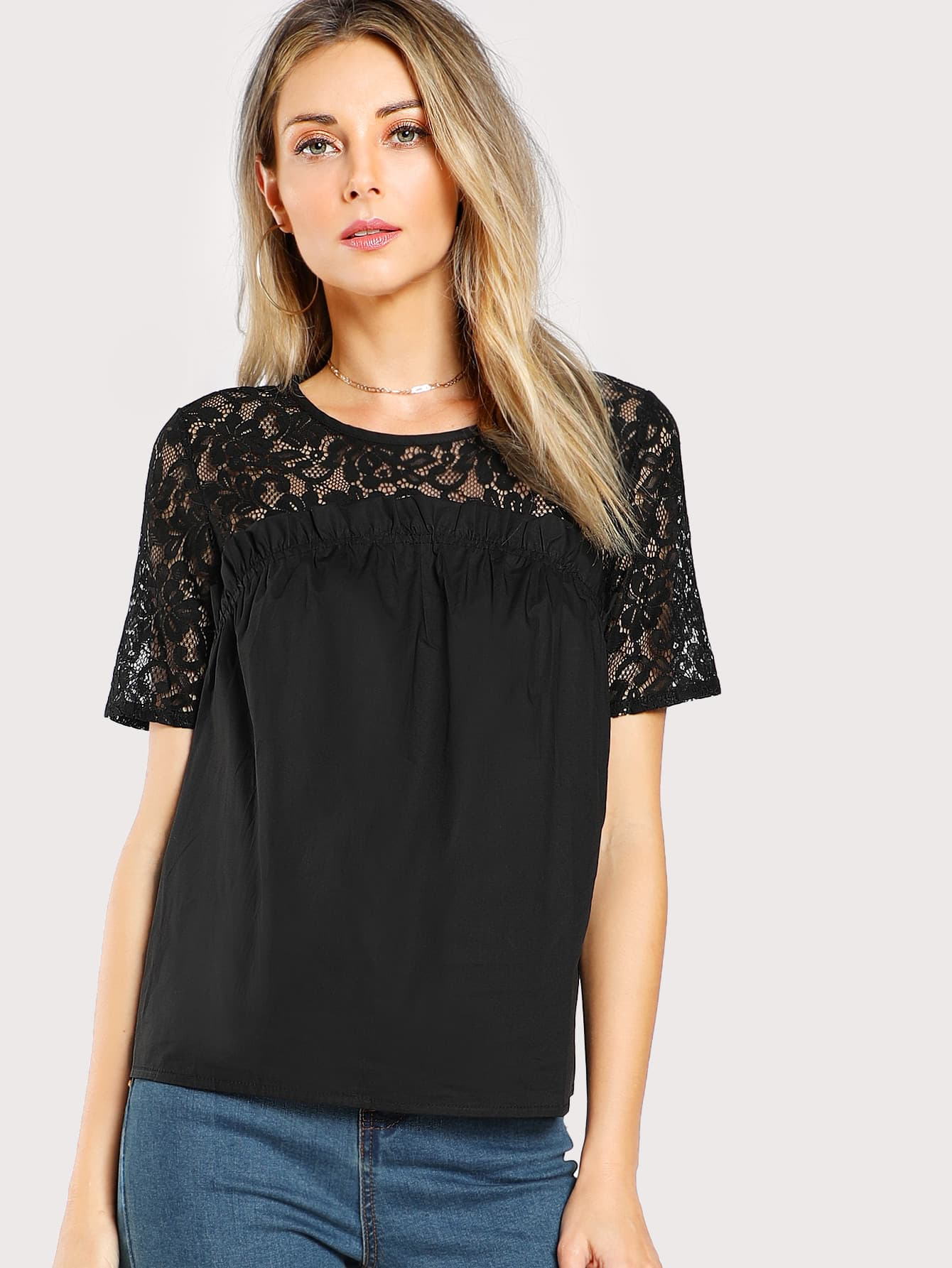 Floral Lace Yoke Frill Detail Blouse pearl beading frill detail sweatshirt