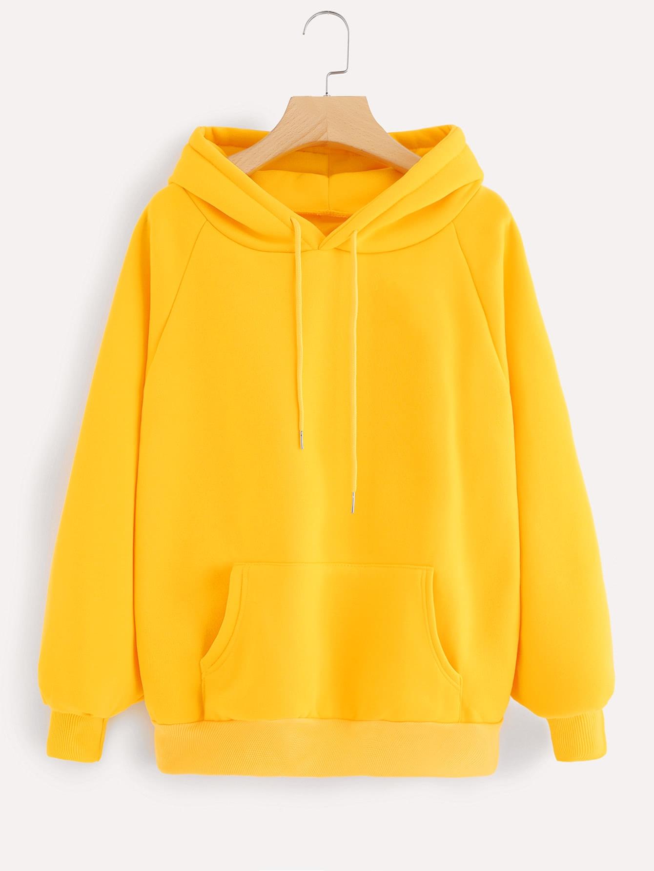 Купить Повседневный Ровный цвет на кулиске Пуловеры Желтый Свитшоты, null, SheIn
