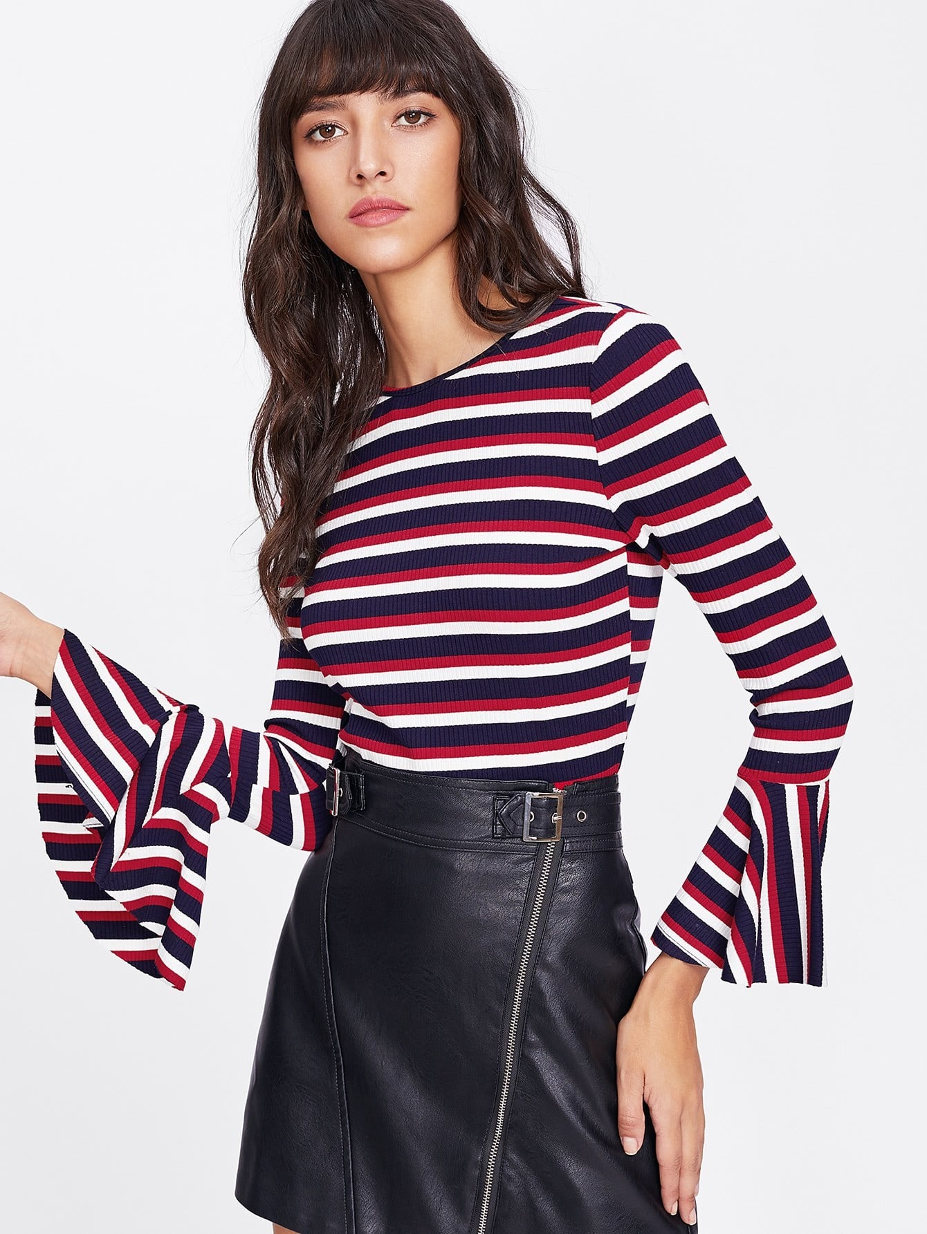 Trumpet Sleeve Rib Knit Striped T-shirt tee171116452