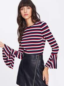Trumpet Sleeve Rib Knit Striped T-shirt