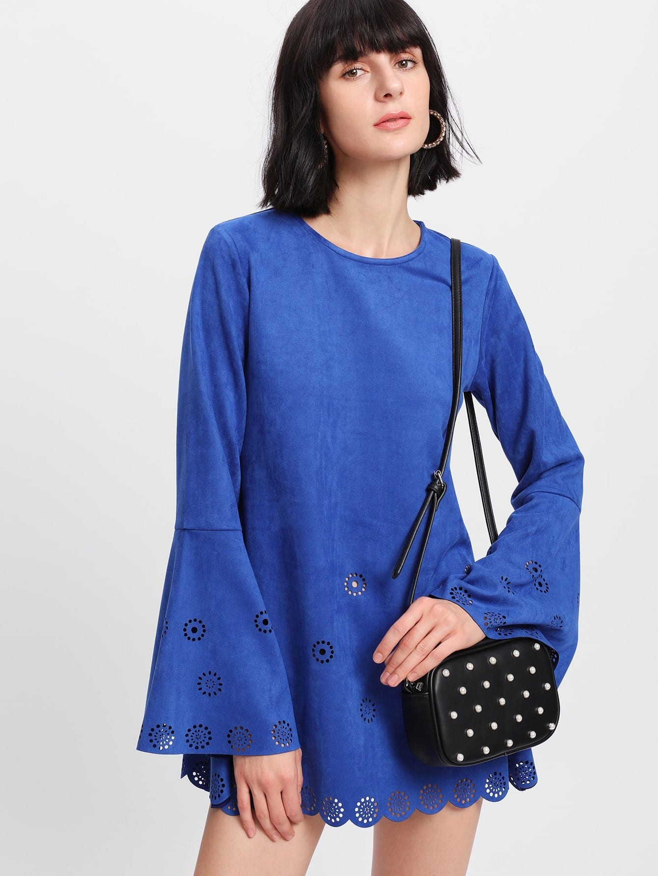 Scallop Laser Cut Suede Dress scallop laser cut form fitting dress