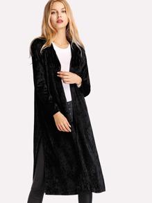 Crushed Velvet Slit Side Coat
