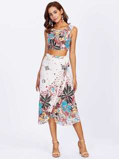 Botanical Crop Tank Top & Overlap Skirt Set