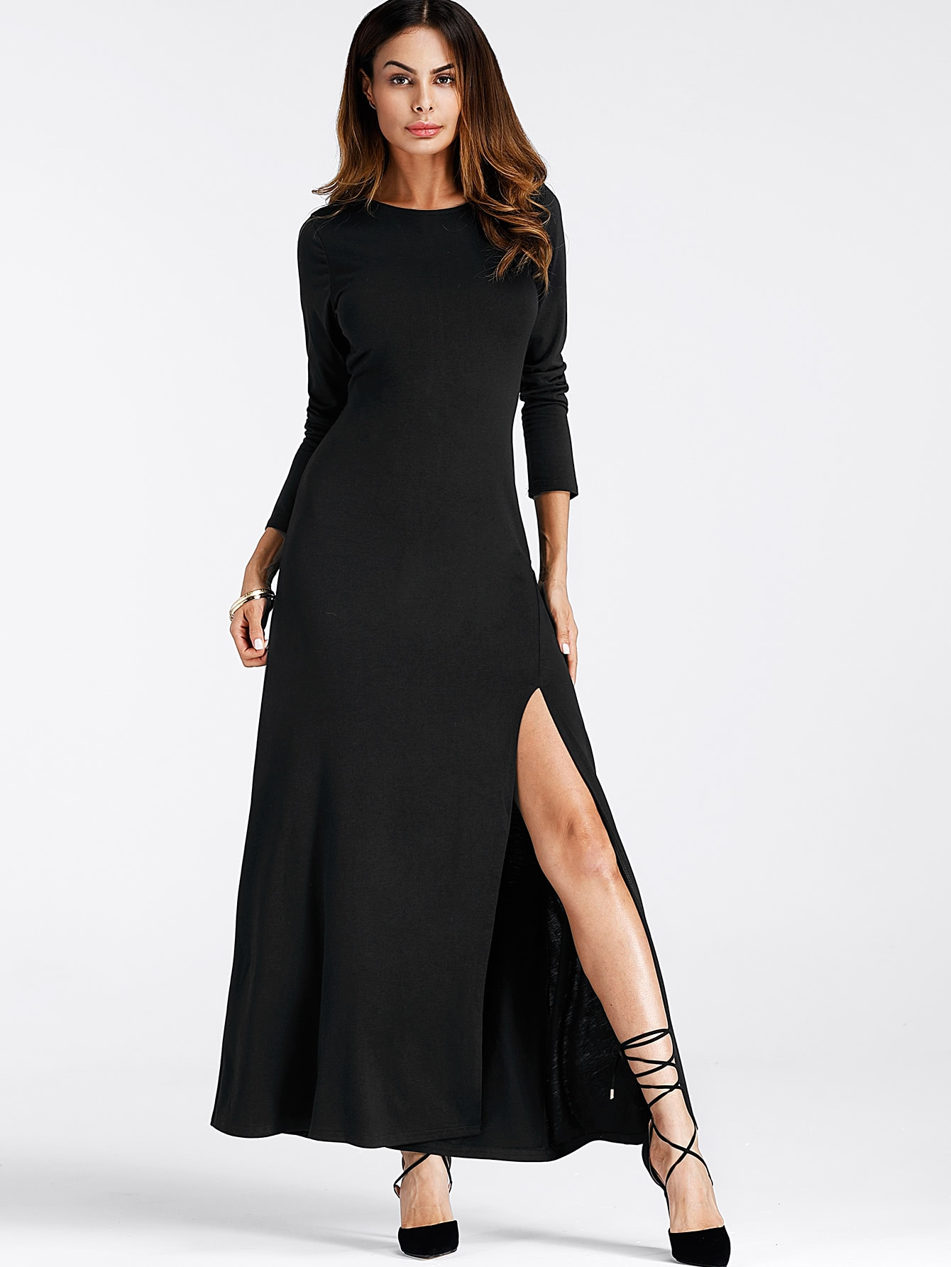 EMILY - Maxi Dresses Gowns Work Office Modest Church Funeral Formal. A stunning long sleeve designer maxi dress that features a wrap style chest and an asymmetric cut bottom hem that gives way to a split and ruffled drape/5(K).