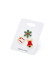 Ensemble de broche de Noël design de bonhomme de neige & cadeau
